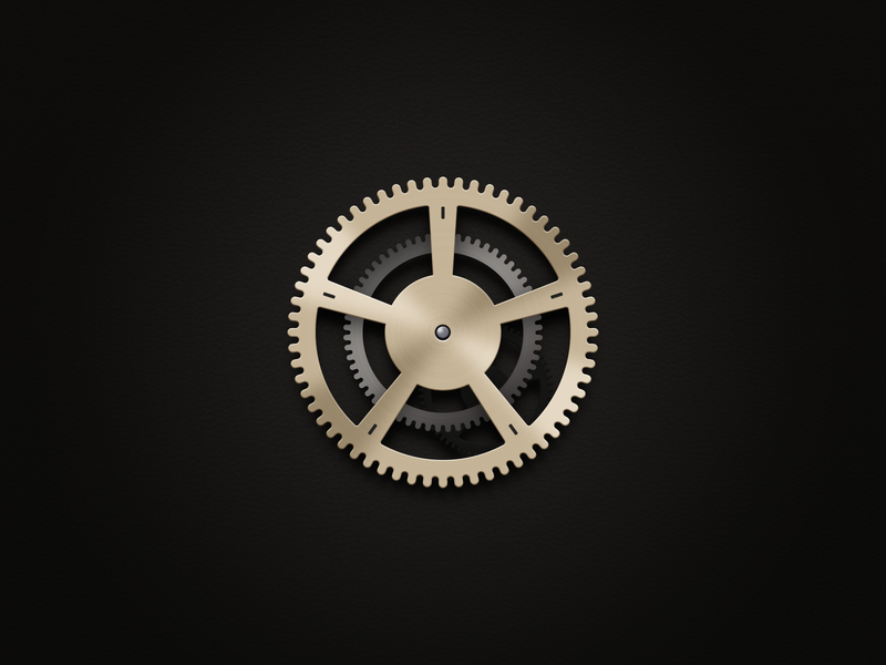 Setting icon illustration black hollow desktop silver gold gear android app icon ui ux