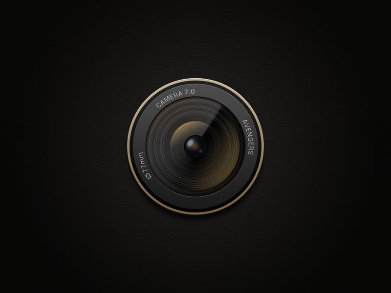 Camera icon macro glass desktop gold lens android black app ui icon ux