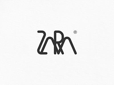 ZARA Logo Design simple black clothing english font ux logo