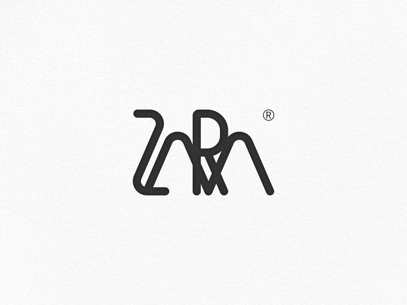 ZARA Logo Design simple black clothing english font ux logo