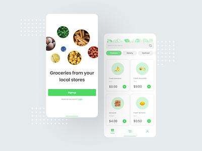 Grocery app - concept branding green app free onboarding onboarding ui mobile app minimal food grocery online shop mobile ui ux mobile e commerce delivery app grocery app ui concept app