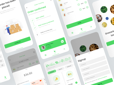 Grocery app - concept figma mobile ui uikit food app onboardingui groceryapp uidesign ecommerce onlineshop grocery green mobileapp iosdesign productdesign deliveryapp concept app free minimal ux app