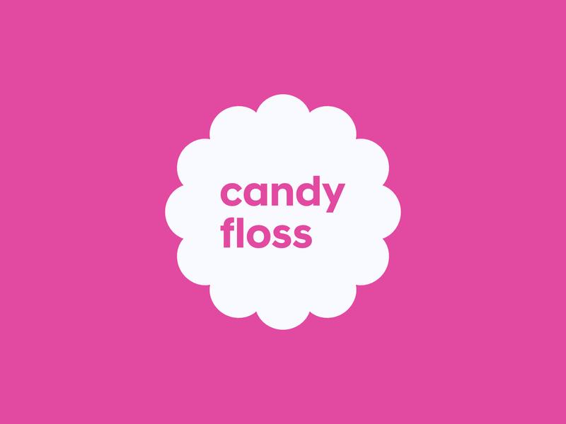 Candy Floss vector typography logo flat concept design concept design