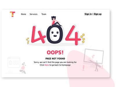 404 Page | Error logo vector concept dailyui branding trending illustraion oops clean web app flat flatdesign colors ux ui uiux error 404 404page