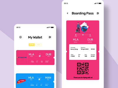 Boarding Pass trending wallet mobileapp clean ios app logo illustration dailyui vector flatdesign uiux flat buttons colors ui concept ux flights boardingpass