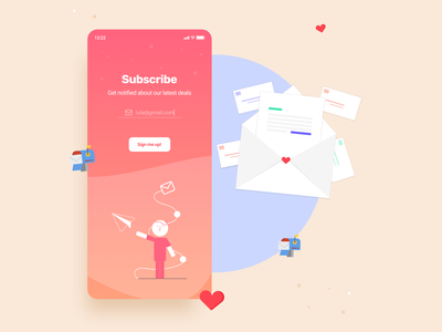 Subscribe 📬 mail concept new trending bg mailboxes subscribe mobileapp ios colors typography design flat branding ux ui dailyui clean figma app