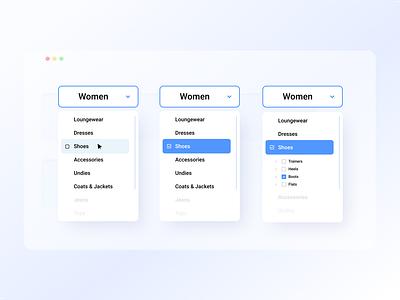 Dropdown Menu ⬇️ navigation shadows typography filter cards bg form menu dropdown ui mobileapp concept branding vector ux dailyui trending figma uiux app