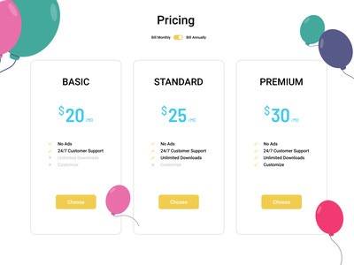 Pricing Plan colors buttons price ui screens cards annually monthly plan pricing flatdesign concept branding vector ux dailyui clean trending figma uiux
