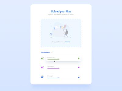 Upload Files 📂🗳 attachment design browse shadows branding new files upload typogaphy colors concept flat figma trending ui ux dailyui clean illustration uiux