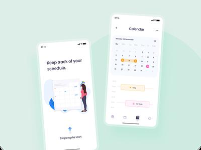 Calendar Concept  📆 mobileapp buttons schedule clean typography shadows uidesigns new calendar colors app flat ui uiux figma vector design concept trending dailyui