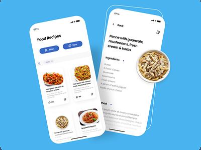 Recipe bg pasta buttons shadows mobileapp ios food recipe fresh typography figma ux flat branding app vector concept trending dailyui clean