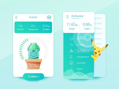 Pokemons Is Everywhere #001 temperature ui nutrient humidity water sunlight plant pikachu bulbasaur
