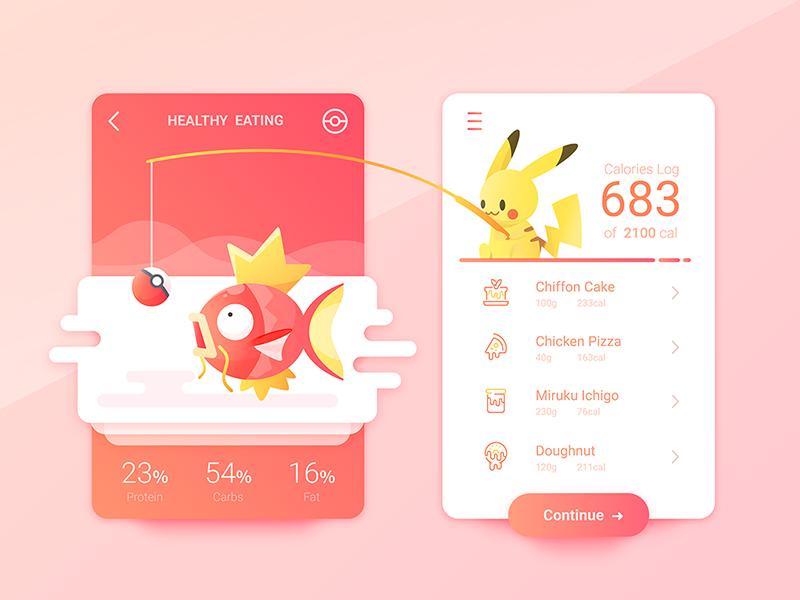 Pokemons is Everywhere #129 china ui carbs protein doughnut pizza calories eat health food pikachu magikarp
