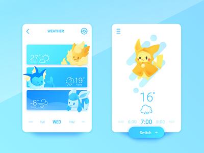 Pokemons is everywhere #134#136#471 ui snow sunny glaceon vaporeon flareon rain weather pikachu eevee