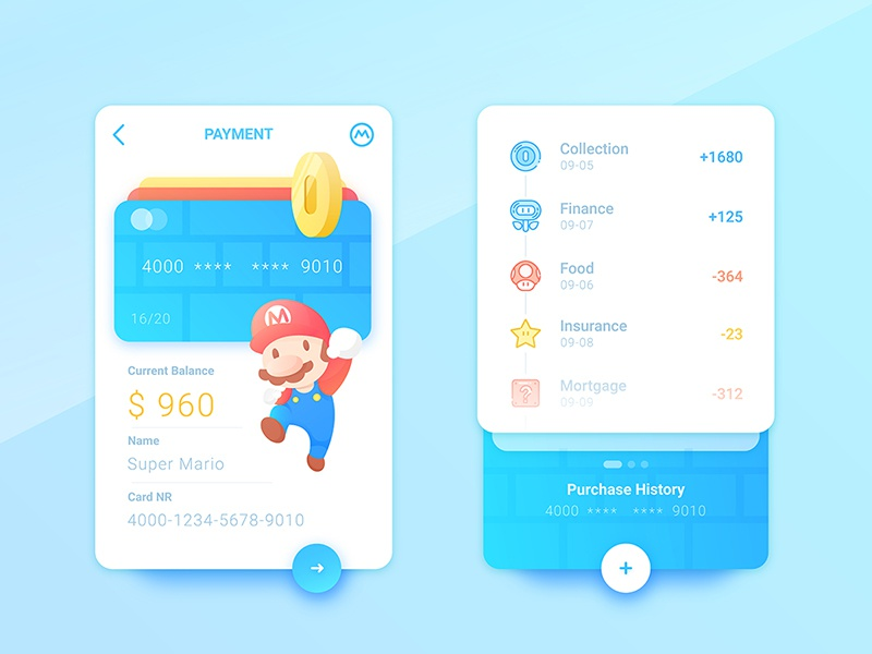 Mario's  credit card  china super mario card cartoon payment pay app ui game coin mario