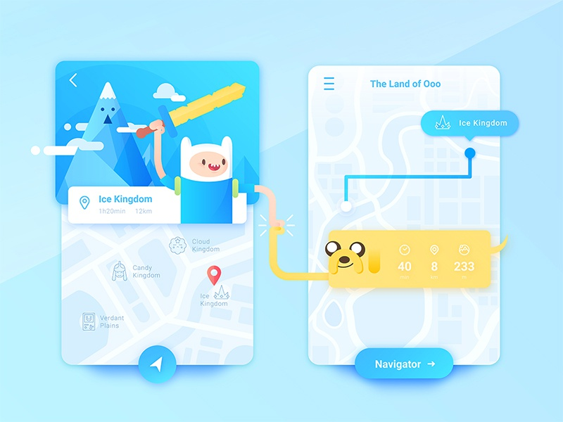 Map App of Fin & Jake candy china travel adventure app find navigation map ui cartoon fin adventure time