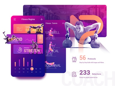 AR Virtual Fitness Coach App weight ui sport speed run overlay fitness data calorie animation achievement