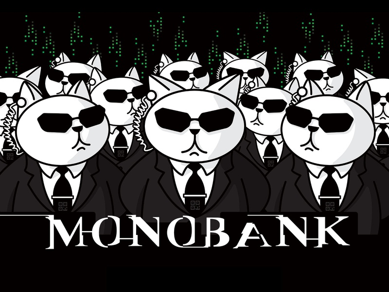 monobank—they connect to the system here agent smith matrix system advertising mobile banking app mobile monobank mono bank illustration design character cat