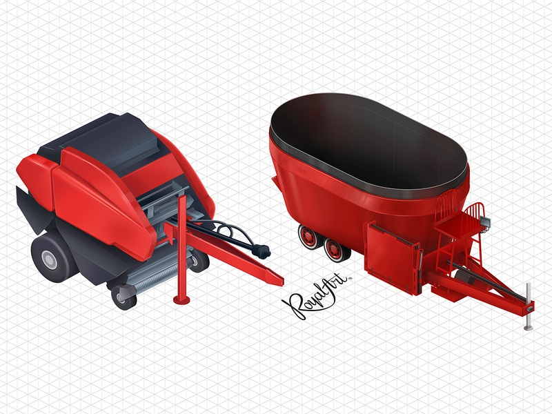 The baler and the feeder grid farming dairy agricultural technologies isometry isometric illustration feeder baler agriculture