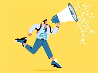 Announcing desig ui boy shot character design flat 2d illustration