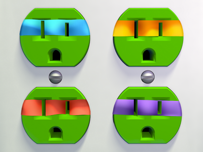Unplugged Faces | TMNT 3d cinema 4d unplugged outlet tmnt turtles green render pop culture