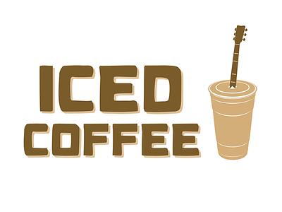 Iced Coffee (Cover Band) Logo ice iced coffee coffee cup guitar music band cover band logo brown drink