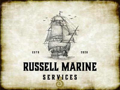 made for russell marine services logo drawingart beer label tattoo branding orders illustration branding design hand drawn design brand identity vintage logo logo drawing