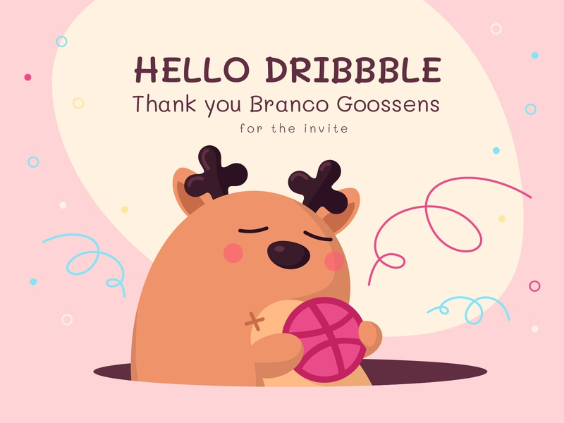Hello Dribbble thank toy serpentine happiness deer character design happy illustration invite dribbble invite dribbble dribbble debut