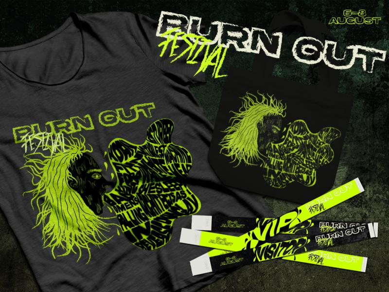 Burn Out Festival merch wristband festival illustration graphicdesign design