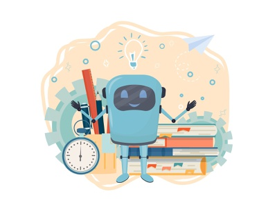 Positive character chat bot character study learning book flat concept illustrator illustraion vector robot chatbot tutor online education
