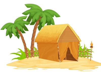Hawaii Beach Hut palm concept resort travel summer background illustration ui vector hawaii cartoon hut