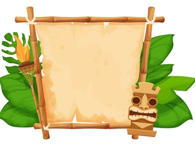 Hawaii Tiki Frame with bamboo and old pasrchment game flame gui ui textured paper torch mask summer background illustration vector parchment cartoon frame hawaii tiki