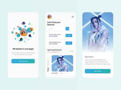 Mobile App Design for Events & Festivals illustration music party mobile tickets application events event dailyui app ui profile daily design