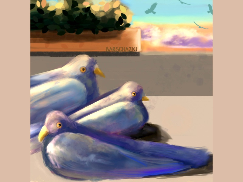 Pigeons on the balcony pigeons art illustration digital art colorful art