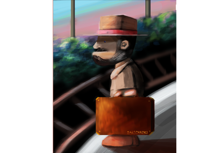 Waiting for the train in the morning art colorful art illustration digital art berlin