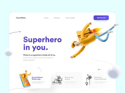 Superhero | Website Design ui 3d logo website landing page website design webdesign flat web adobe xd adobexd