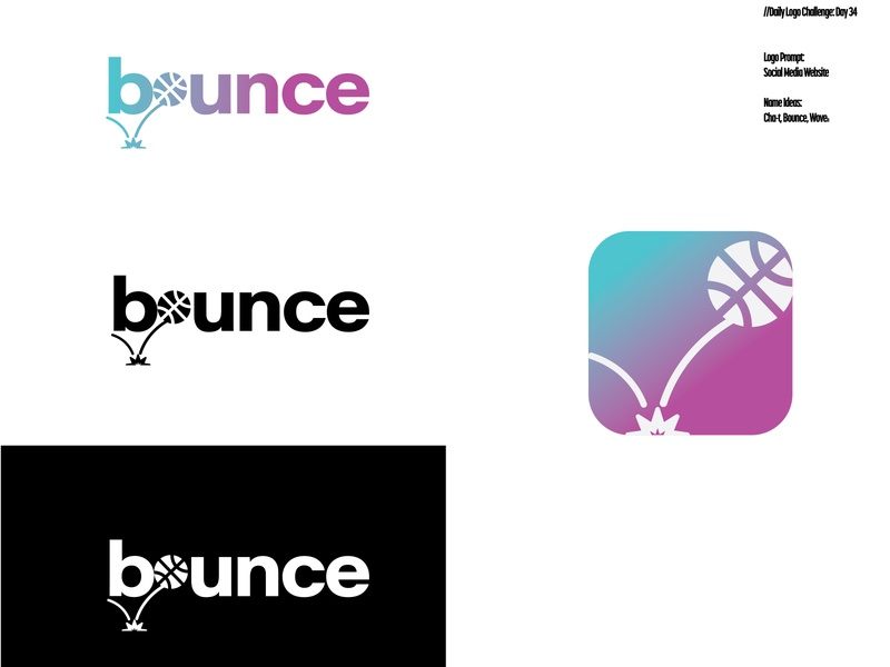 Daily Logo Challenge: Day 34 | Bounce iphone bouncing basketball chat cha-t woven bounce purple gradient app icon purple blue design logo branding illustration daily logo dailylogo dailylogochallenge daily logo design