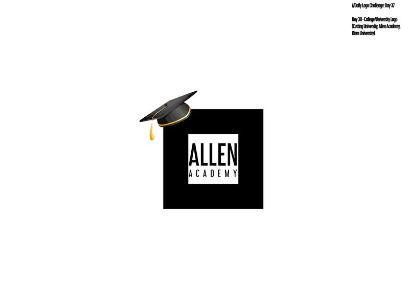 Daily Logo Challenge: Day 38 | Allen Academy yellow black square graduation academy university design logo branding daily logo design daily logo dailylogo dailylogochallenge