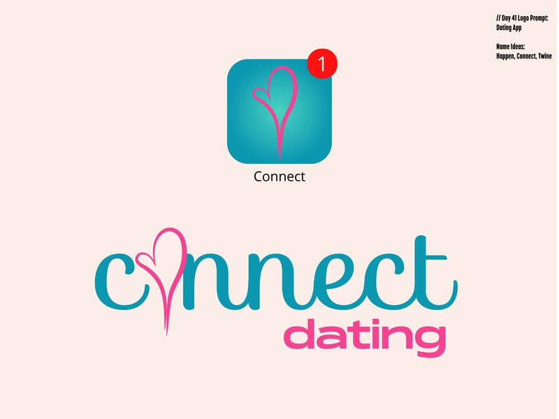 Daily Logo Challenge: Day 41 | Connect love logo lovers logo illustration harris robert dating website dating logo teal pink love heart love connect dating app dating daily logo design dailylogo daily logo dailylogochallenge