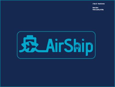 Daily Logo Challenge: Day 42 | AirShip speedy postal airship parcel plane ship harris robert blue design logo branding illustration daily logo design daily logo dailylogo dailylogochallenge