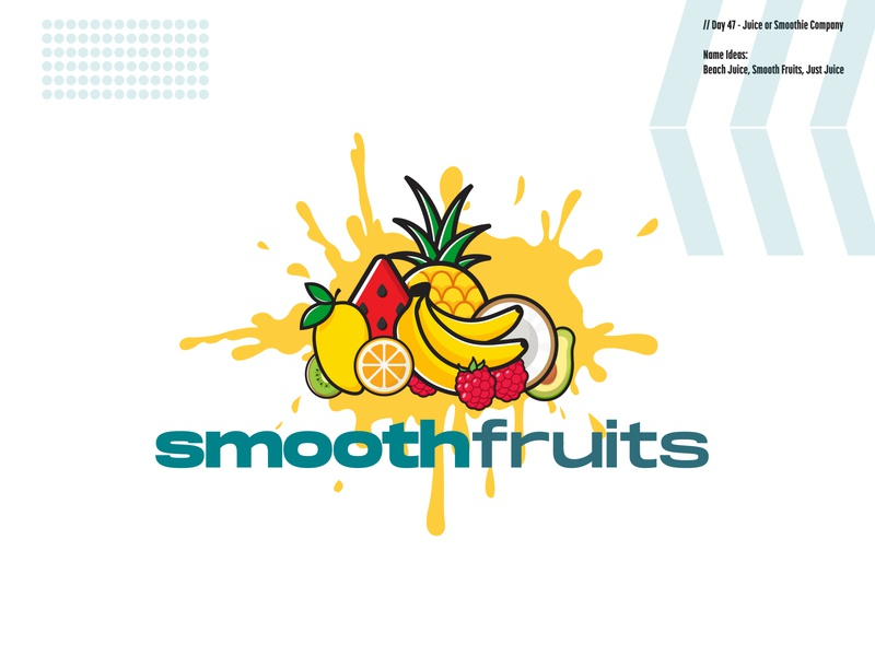 Daily Logo Challenge: Day 47 | Smooth Fruits day 47 smooth fruits beach juice just juice smoothies beach coconut mango smoothie banana fruits design logo branding illustration daily logo design daily logo dailylogo dailylogochallenge