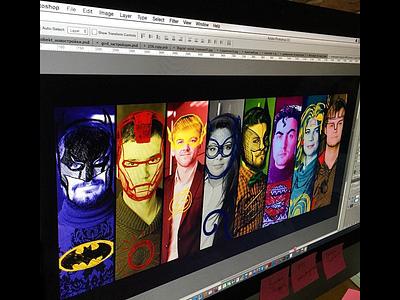 Superhero team  superhero web presentation outline sketch drawing illustration design picture