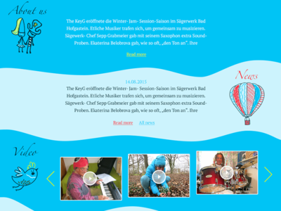 Site for world music band The Key G the key g music band web site flat site web ui design