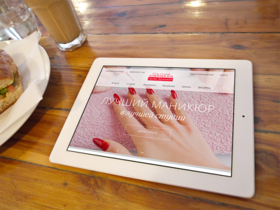 Concept Site manicure studio iPad view manicure concept web site site ui web design