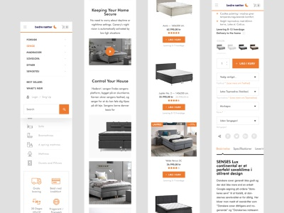 Mobile version pages for Bedrenaetter / Magento website basov ui  ux ui design theme ui shop store bed bedroom furniture mattress minimal interior ecommerce ecommerce design responsive orange magento magento2ecommerce bedroom design bedroom