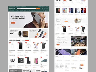 Home page design for Nexus Cellular store logo design ux web ui homepage canada shop orange accessories phones carriers parts store megento2 cellular magento