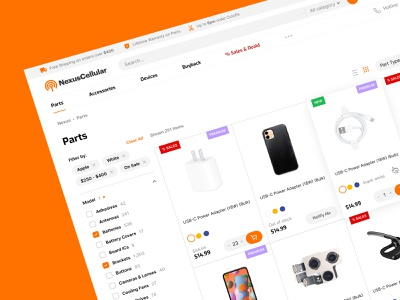Catalog page design for Nexus Cellular store branding logo design ux web phones carriers parts magento devices accessories orange ui catalog page shop store magento2 cell canada cellular