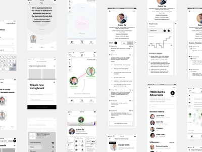 High-Fidelity Wireframes Mobile app for Stringboard.it management understand networking business relationships map relationships mobile ux string board mockups structured large companie staff influencers decision-makers visual map adobe xd mobile design mobile app wireframes ux high-fidelity
