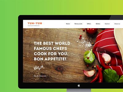 Yum-Yum Restaurant Template tasty webdesign food chefs psd hezytheme hezy template delivery dishes restaurant yum-yum