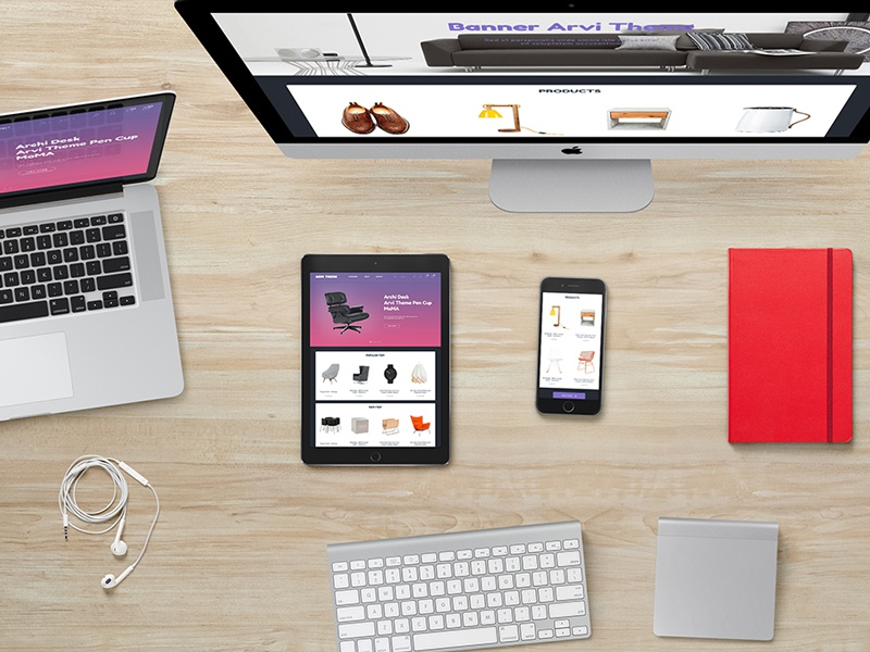Arvi Freebie  psd template freebie free arvi web template site web design shop store responsive gradient